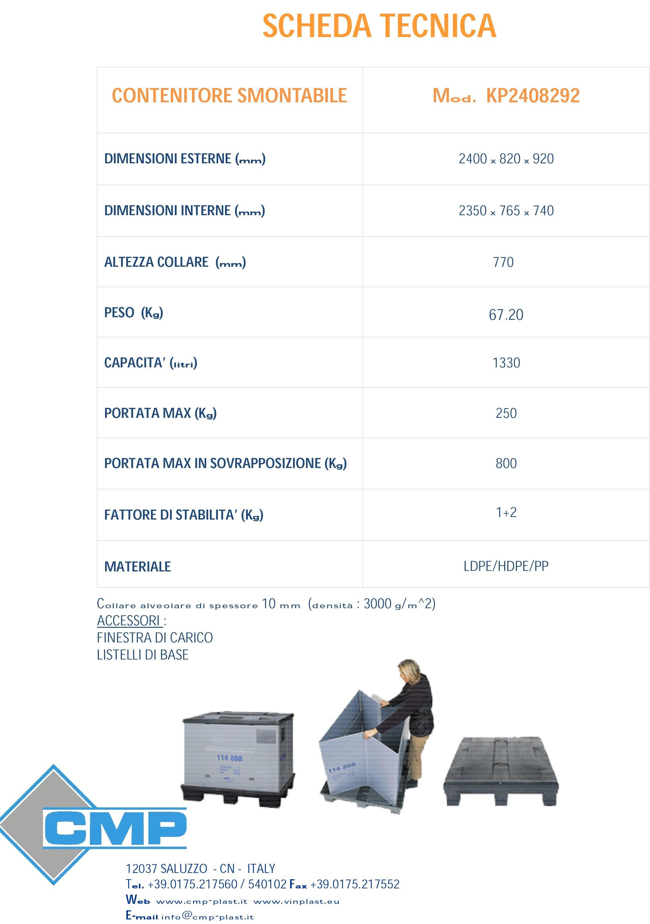 Kp 2408292 cmp pallet e contenitori di plastica - Scheda tecnica finestra ...